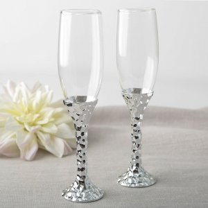 Hammered Design Silver Stem Toasting Flute Set image