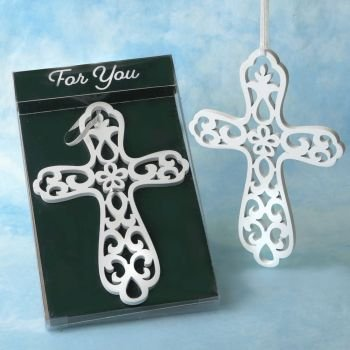 Heaven Sent White Wood Cross Ornament Favor image