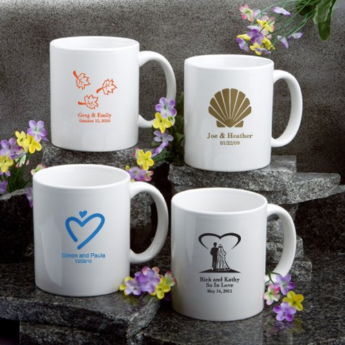 Engraved Wedding Mugs : Personalized White Ceramic Wedding Mugs (50 Designs)