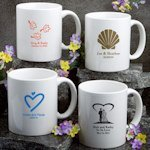Personalized White Ceramic Wedding Mugs (50 Designs)