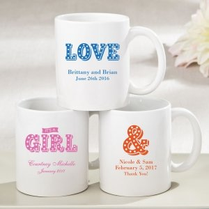 Personalized Marquee Design White Ceramic Coffee Mug Favors image
