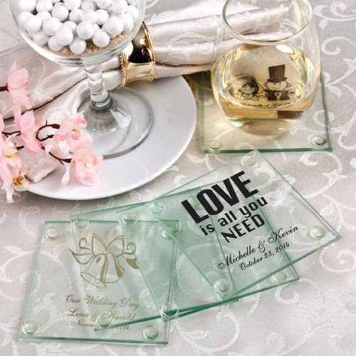 Average Price Of Wedding Gift: Personalized Glass Coaster Wedding Favors