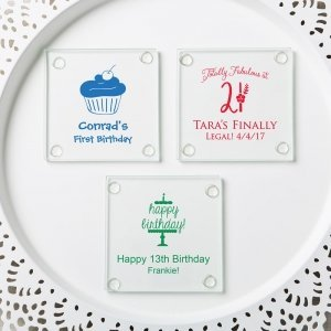 Personalized Birthday Design Stylish Coaster Favors image