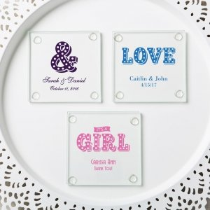 Personalized Marquee Design Stylish Coaster Favors image