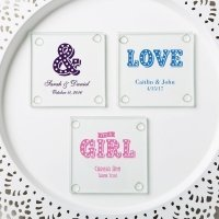Personalized Marquee Design Stylish Coaster Favors