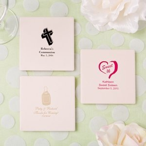 Silkscreened Ivory Glass Coaster Party Favors image