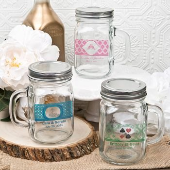 Clear Custom 12 oz Personalized Glass Mason Jar image
