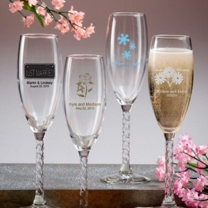 Twisted Stem Champagne Flutes Wedding Favors (50 Designs) image