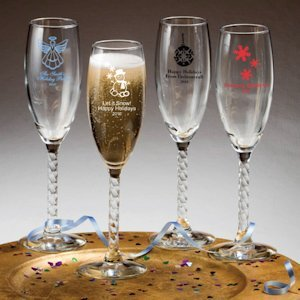 Custom Holiday Twisted Stem Champagne Flutes image