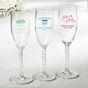 Personalized Elegant Birthday Design Champagne Flute Favors image