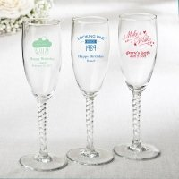 Personalized Elegant Birthday Design Champagne Flute Favors