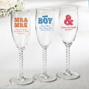 Buy the Personalized Marquee Design Elegant Champagne Flute Favors or other Personalized Glassware from Wedding Favors Unlimited today!