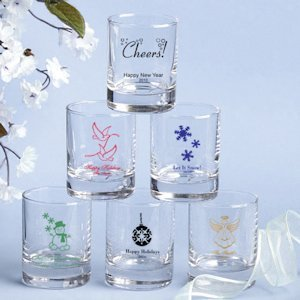Custom Votive Holders or Shot Glasses - Holiday Designs image