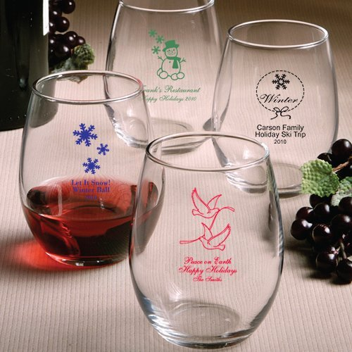 Custom stemless wine glasses holiday designs - Stemless wine goblets ...
