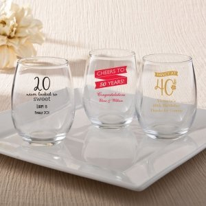 Personalized Birthday Design 9 oz Stemless Wine Glasses image