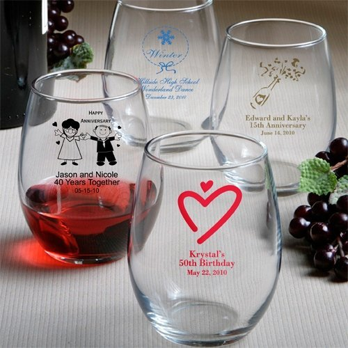 Custom Stemless Wine Glass 50 Designs