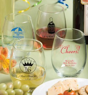Personally Yours Large Stemless Wine Glasses image