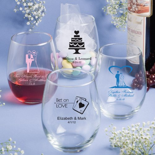 Personalized Stemless Wine Glasses Wedding Favors 15 Oz