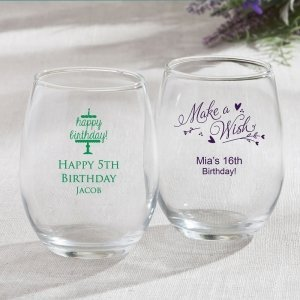 Personalized Birthday Design 15oz Stemless Wine Glasses image