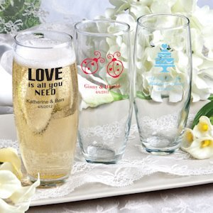 Silkscreened Wedding Stemless Champagne Flutes image