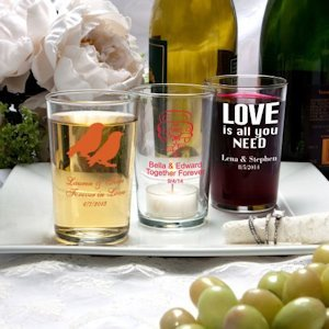 Silkscreened Wedding Glassware Collection Bistro Glasses image