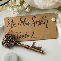 Copper Skeleton Key Bottle Opener with Place Card Tag