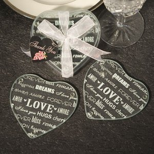 Heart Shaped Glass Wedding Coaster Favors image