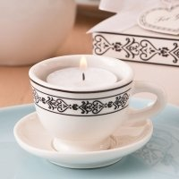 Tea Time Ceramic Tea Cup & Saucer Tea Light Candle Holder