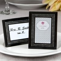 Black Frosted Glass Picture Frame Placecard Holder