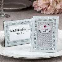 White Frosted Glass Picture Frame Placecard Holder