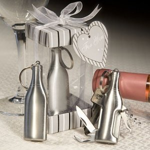 Bottle-Shaped Keychain Bottle Opener & Bar Tool Favor image