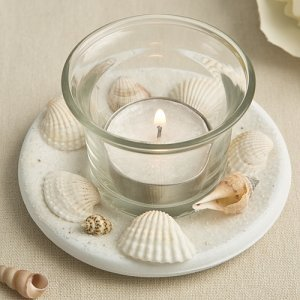 Natural Sea Shell Candle Votive Wedding Favor image