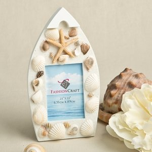 Natural Sea Shell Boat Shaped Photo Frame Favor image