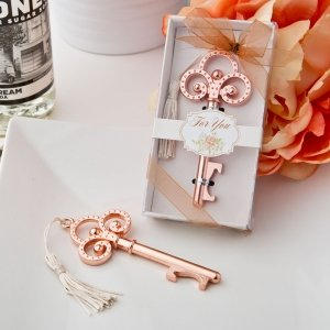 Rose Gold Vintage Skeleton Key Bottle Opener Favors image