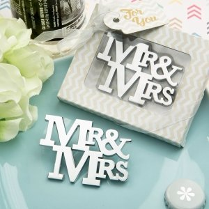 On Trend Mr & Mrs Silver Metal Bottle Opener image