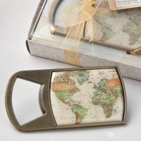 Vintage Travel Themed Map Design Bottle Opener Favor