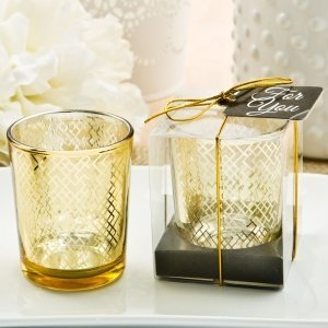 Stunning Geometric Design Gold Mercury Candle Holder image