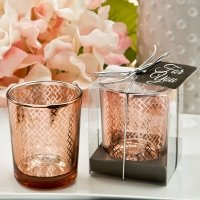 Stunning Geometric Design Rose Gold Mercury Candle Holder