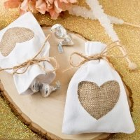 Rustic Heart Shabby Chic White Cotton Favor Bags