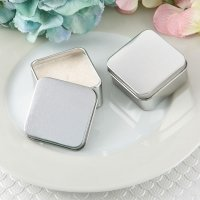 Perfectly Plain Collection Square Silver Metal Travel Candle