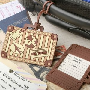 Vintage Suitcase Design Luggage Tag Favors image