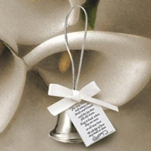 Mini Silver Kissing Bell Wedding Favors (Box of 24) image