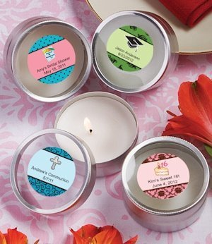 Personalized Themed Round Travel Candles image