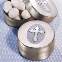 Cross Design Mint Tin - Silver
