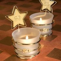 Gold Star 50th Celebration Candle Party Favors