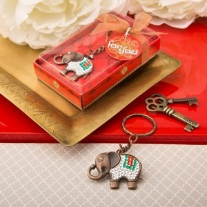 Exotic Elephant Copper Key Chain Indian Wedding Favor image