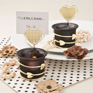 Black and Gold Heart Place Card Votive Holders image