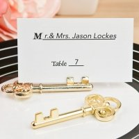 Ornate Shiny Gold Skeleton Key Place Card Holders