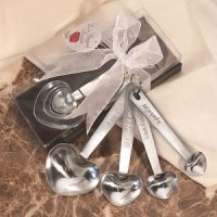 Silver Heart Measuring Spoons Wedding Favors