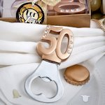 Golden 50 Anniversary Favor Bottle Openers